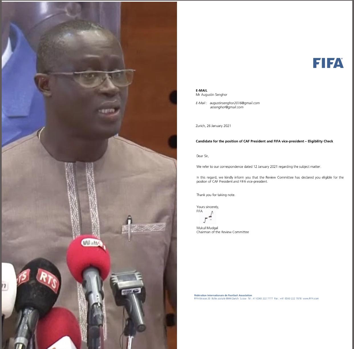 Présidence CAF : La candidature d'Augustin Senghor définitivement validée par la FIFA.