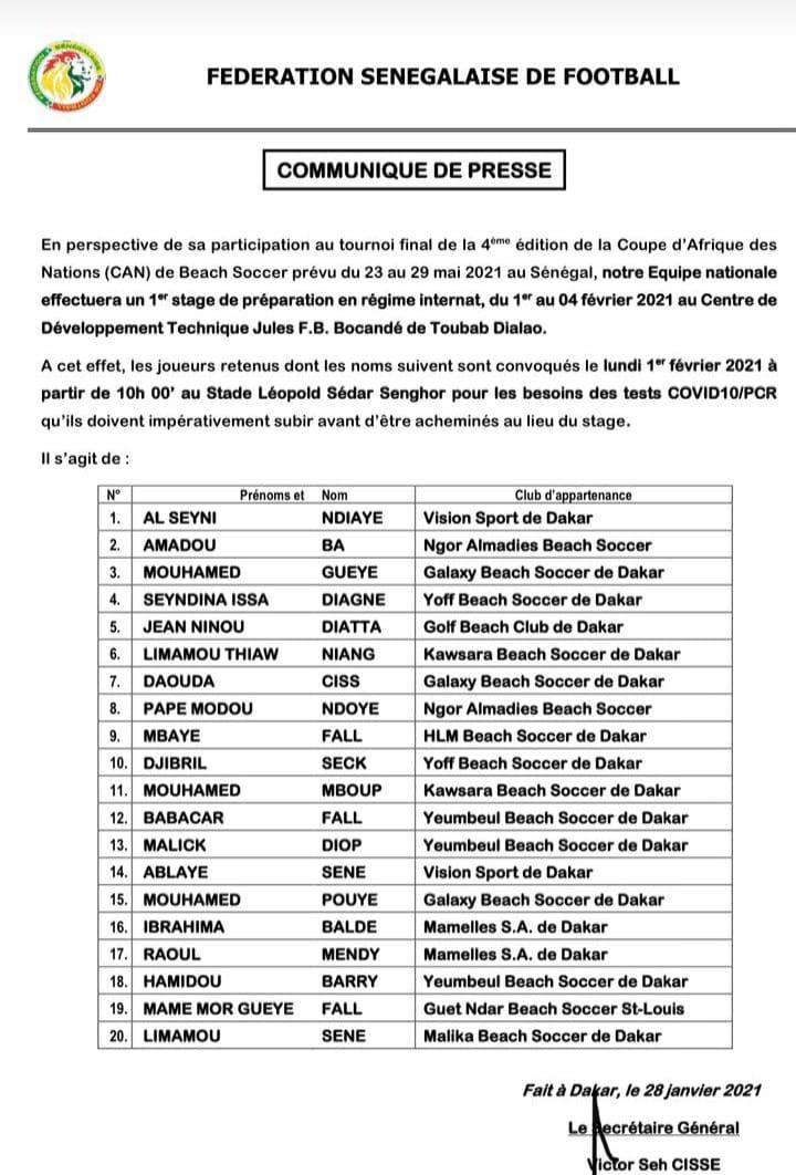 Beach Soccer / Stage de préparation CAN 2021 : Ngalla Sylla et ses 20 « Lions » en régime internat.
