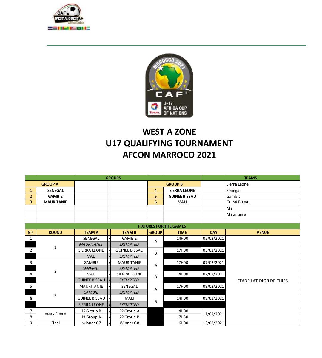 Tournoi UFOA-A / U17 : Les lionceaux dans la poule A avec la Gambie et la Mauritanie.