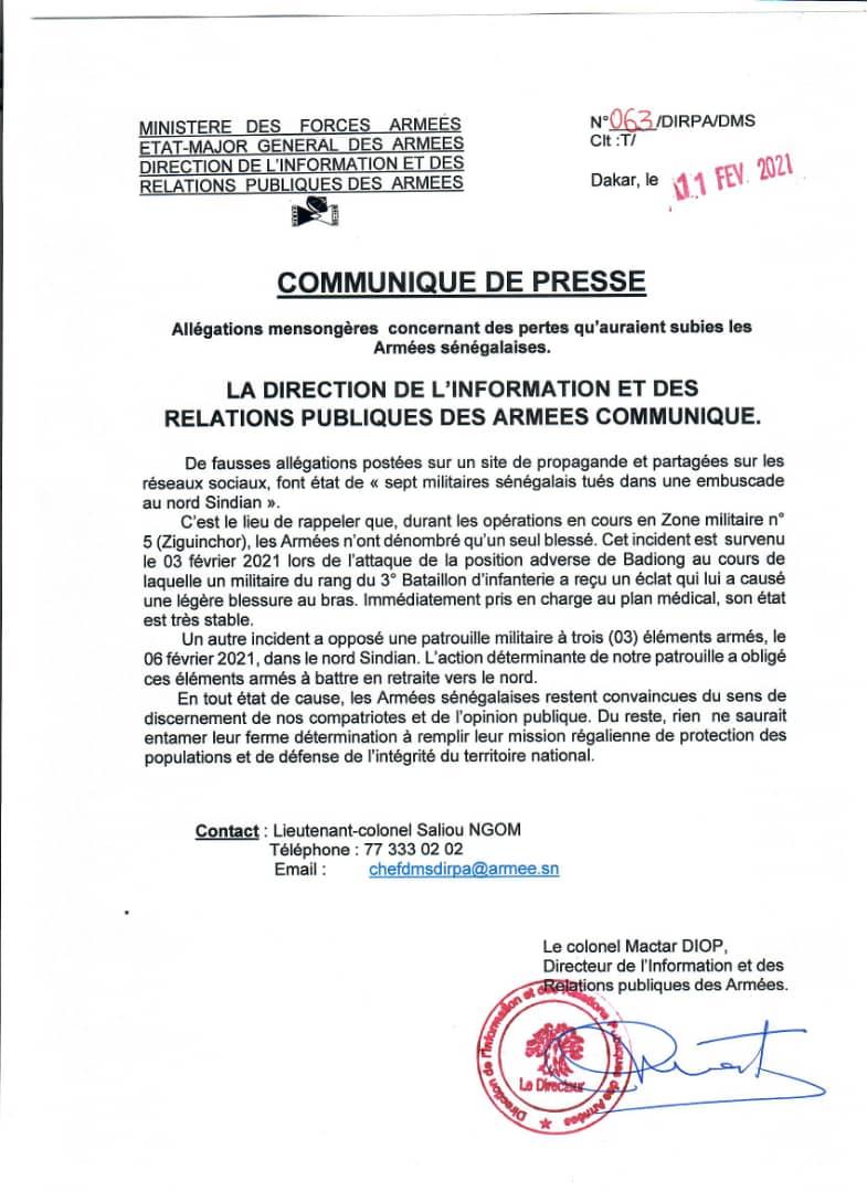 Mort de 7 militaires sénégalais tués au Nord de Sindian : L'armée sénégalaise infirme et précise...