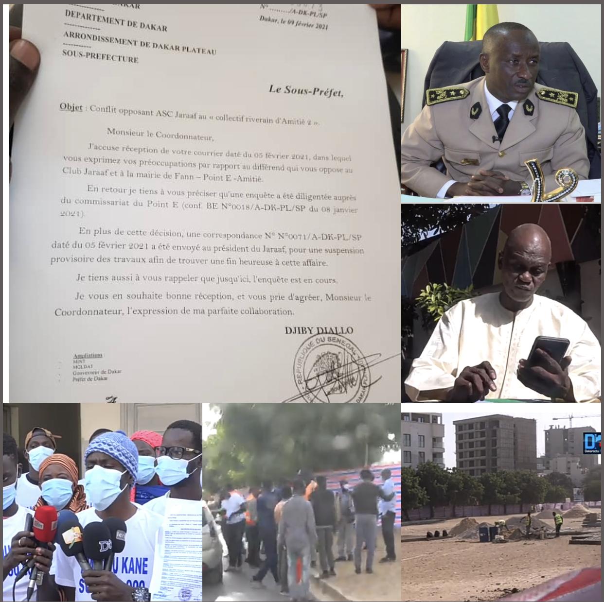 Litige foncier entre l'ASC Jaraaf et le collectif Amitié 2 : Rebondissement dans l'affaire, le chantier provisoirement arrêté, une enquête diligentée par le sous-préfet, Djiby Diallo.