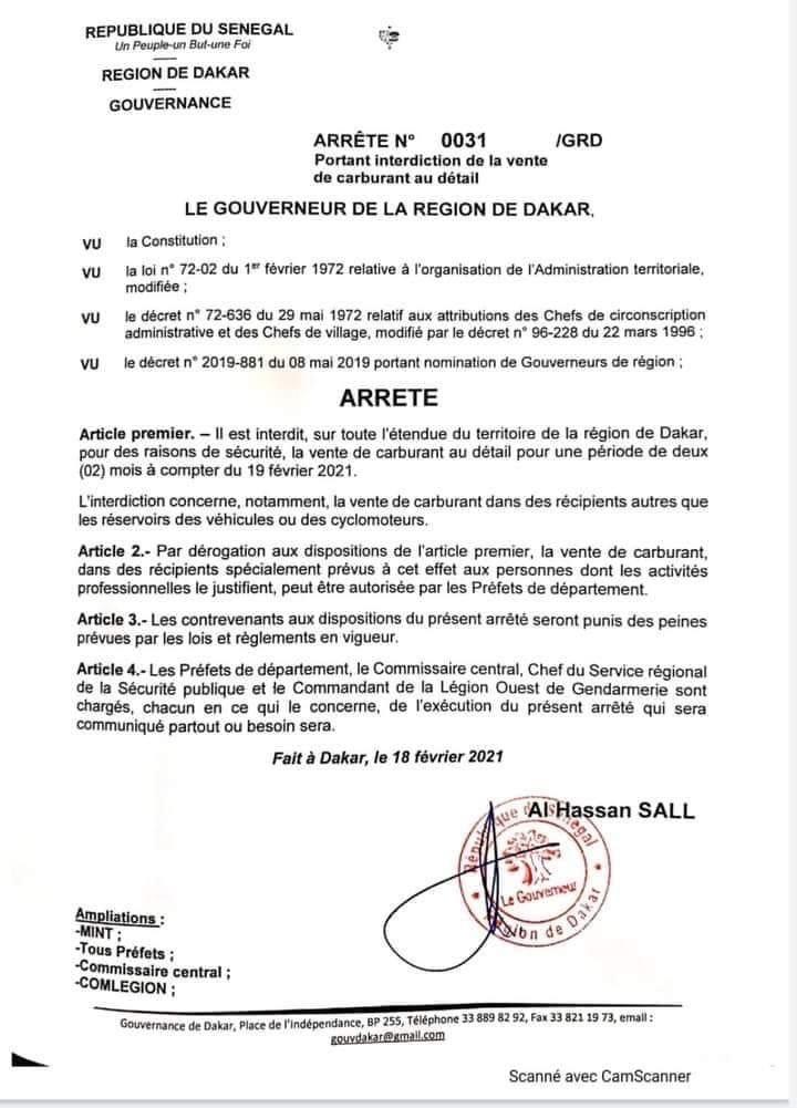 Sécurité Publique : Interdiction de la vente de carburant en détail à Dakar.