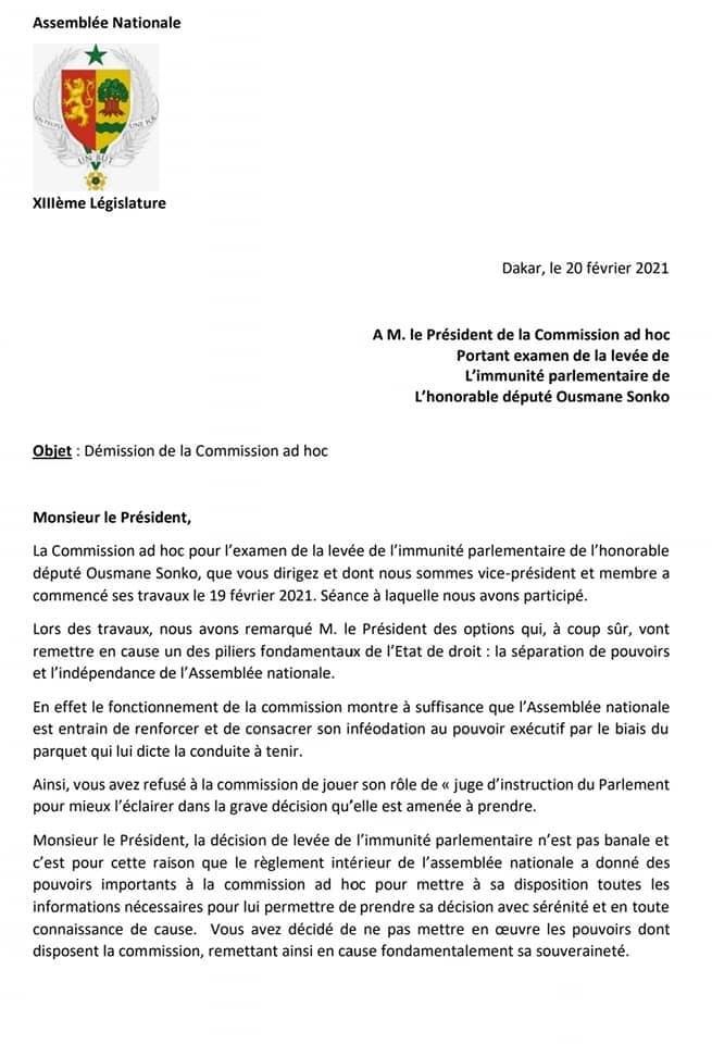 Assemblée nationale / Commission ad hoc chargée de levée l'immunité parlementaire de Ousmane Sonko : Moustapha Guirassy et Cheikh Bamba Dièye démissionnent.