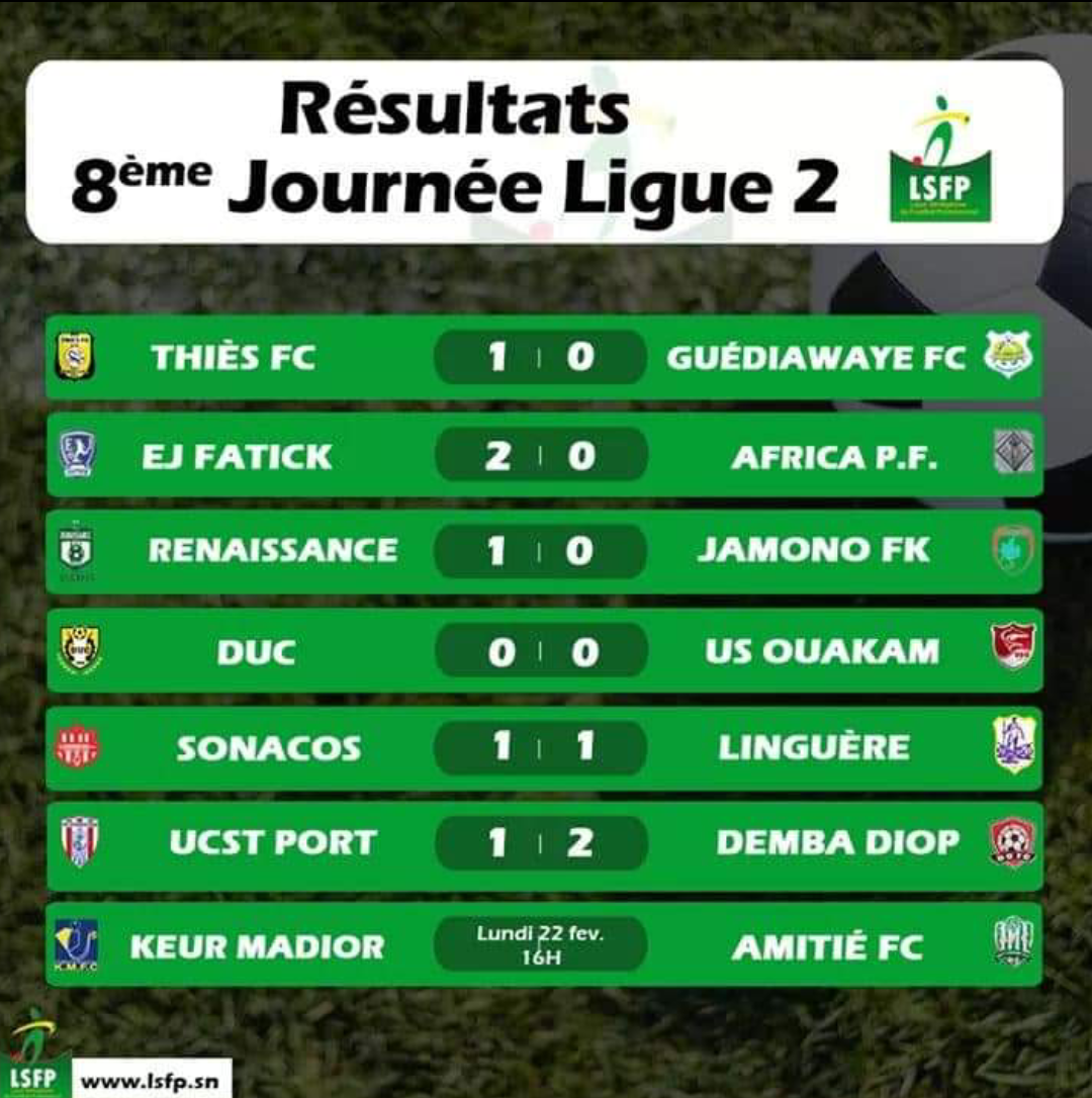 Ligue 2 / 8e journée : La Linguère creuse l'écart malgré son nul, un surprenant Demba Diop FC sur le podium...
