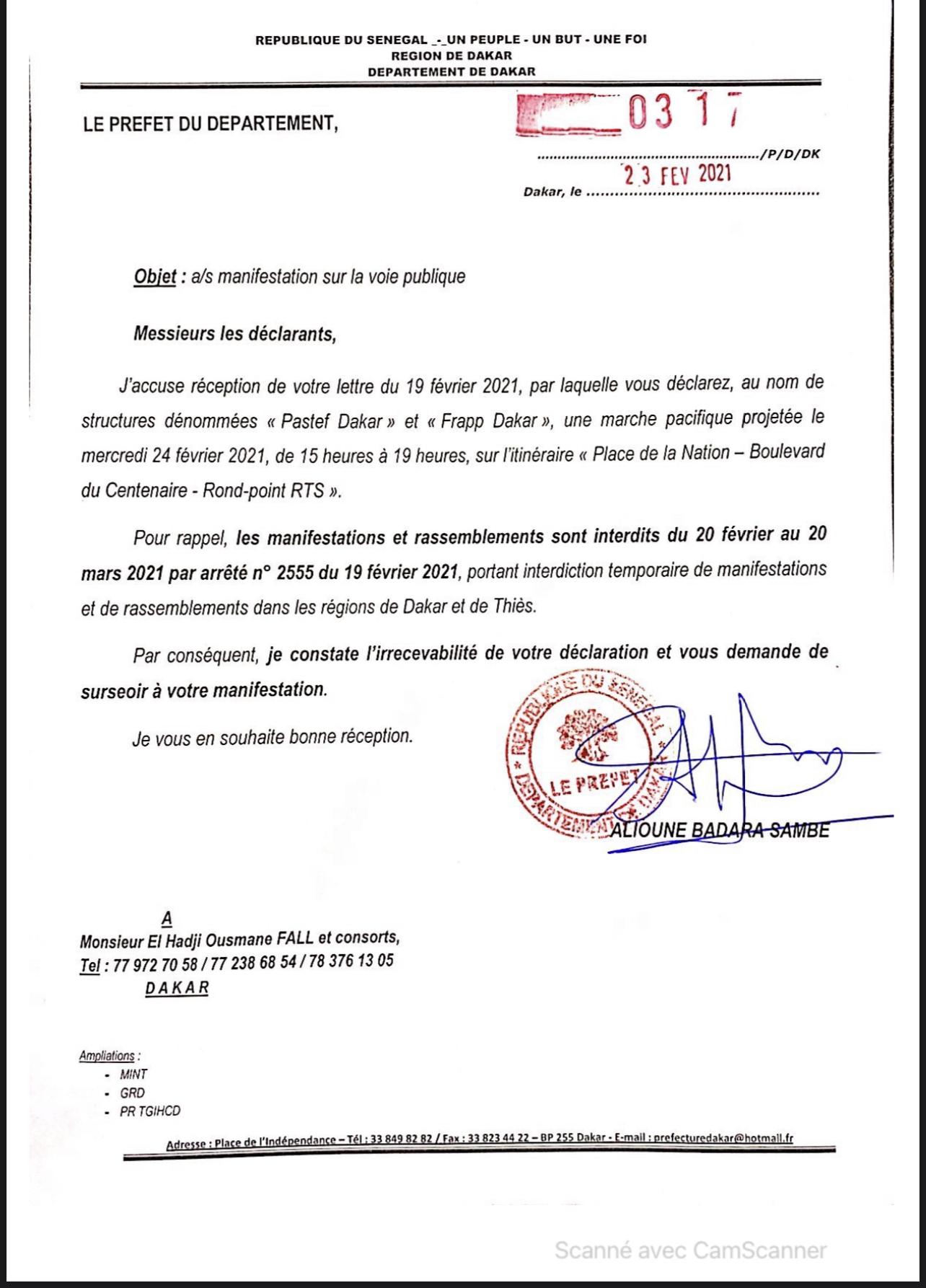 Marche de Pastef et de Frapp demain à la place de la Nation : Le préfet de Dakar rappelle l'irrecevabilité de la demande en cette période de pandémie où les rassemblements sont interdits. (DOCUMENTS)