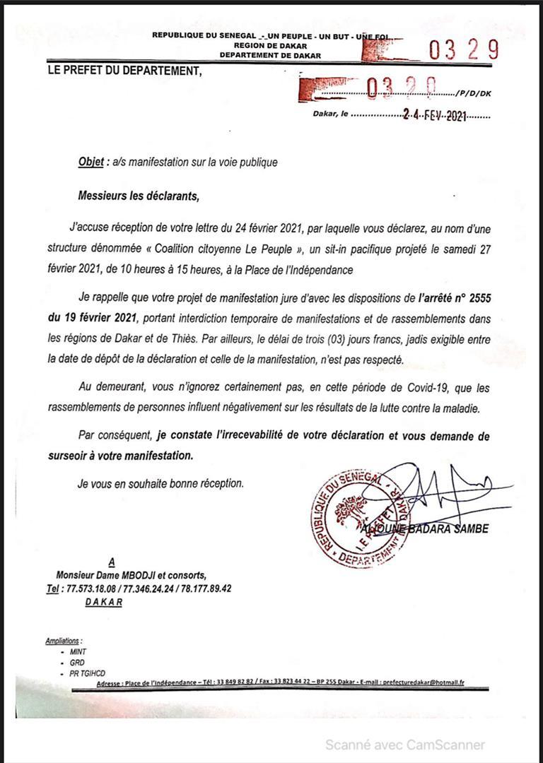PLACE DE L'INDÉPENDANCE : Le préfet de Dakar interdit le sit-in pacifique de la Coalition Citoyenne Le Peuple. (Document)