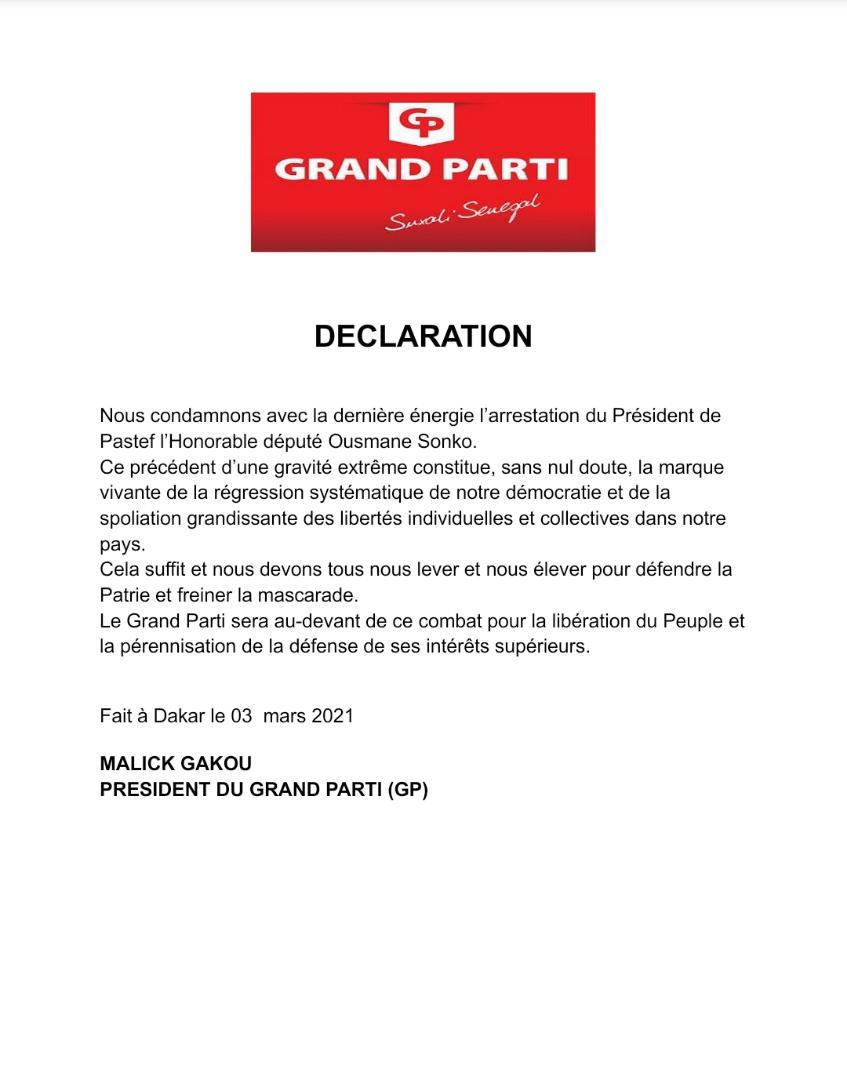 Arrestation de Ousmane Sonko : Le Grand Parti dénonce «la marque vivante de la régression systématique de notre démocratie....» (DOCUMENT)