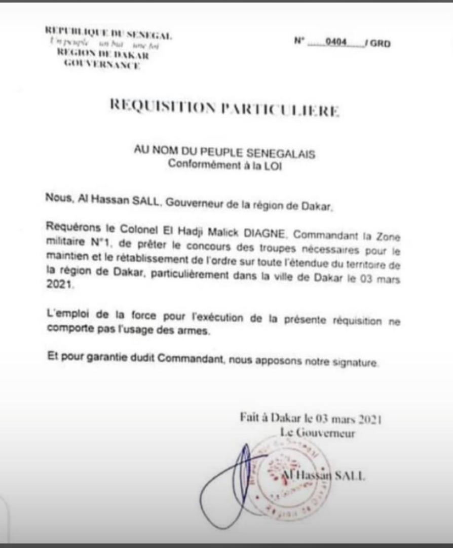 Ordre public : Le Gouverneur de Dakar demande l'intervention de l'armée.