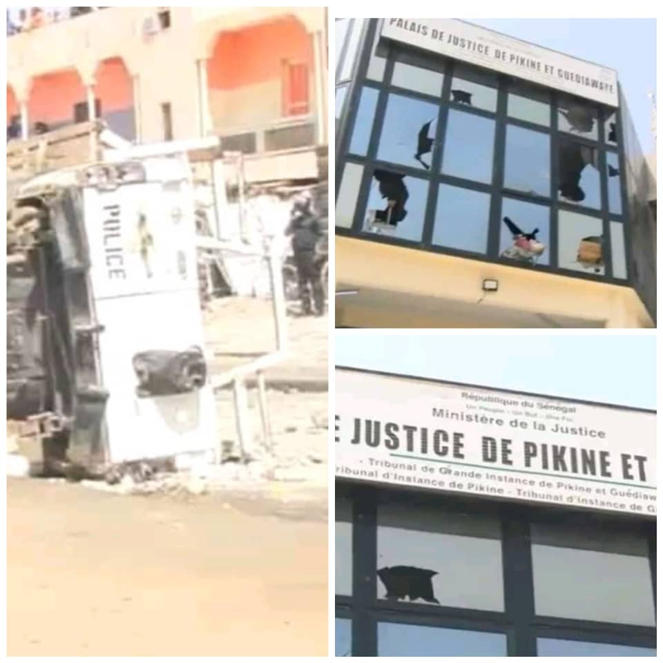 Manifestations dans la banlieue : Le tribunal Pikine-Guediawaye saccagé, un véhicule de police renversé...