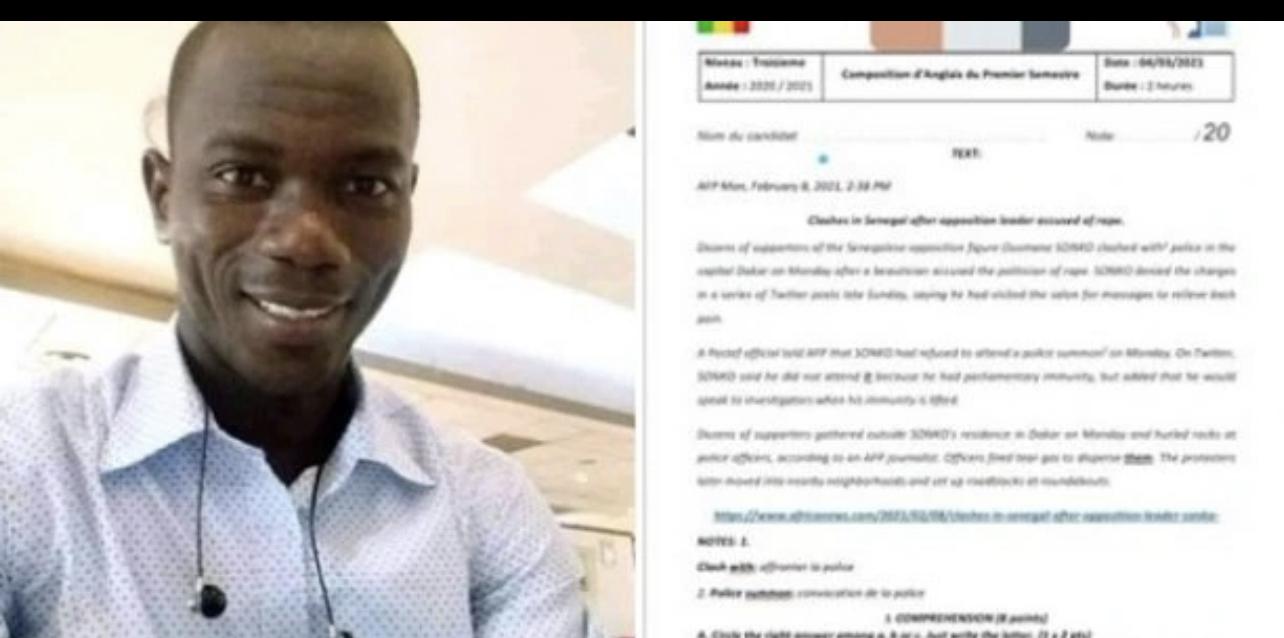«Professeur radié pour avoir proposé un sujet sur l'affaire Sonko» : Le Ministère de l'éducation nationale dément formellement...