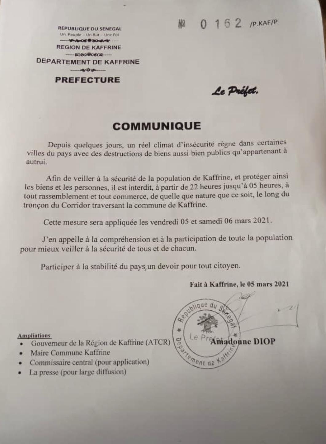 Kaffrine : Le préfet interdit tout rassemblement à partir de 22 heures jusqu'à 05 heures du matin (document).