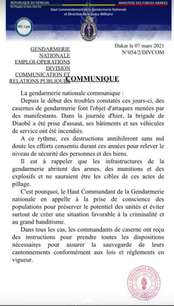 Attaque de casernes : La Gendarmerie appelle à la prise de conscience pour éviter de créer une situation favorable à la criminalité