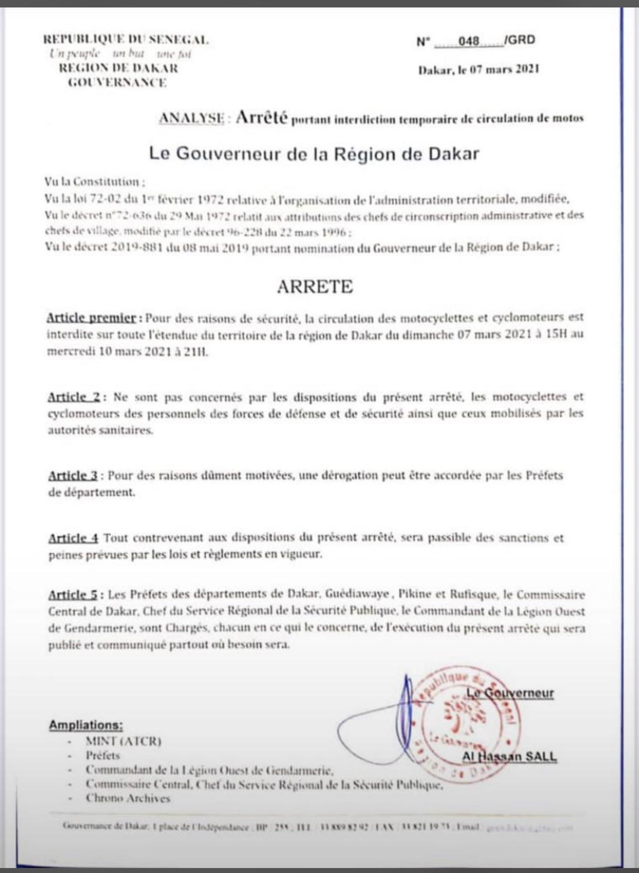 Dakar : Interdiction de la circulation des motocyclettes et cyclomoteurs à partir de ce dimanche à 15 heures jusqu'à mercredi 10 mars à 21 heures. (Gouverneur)