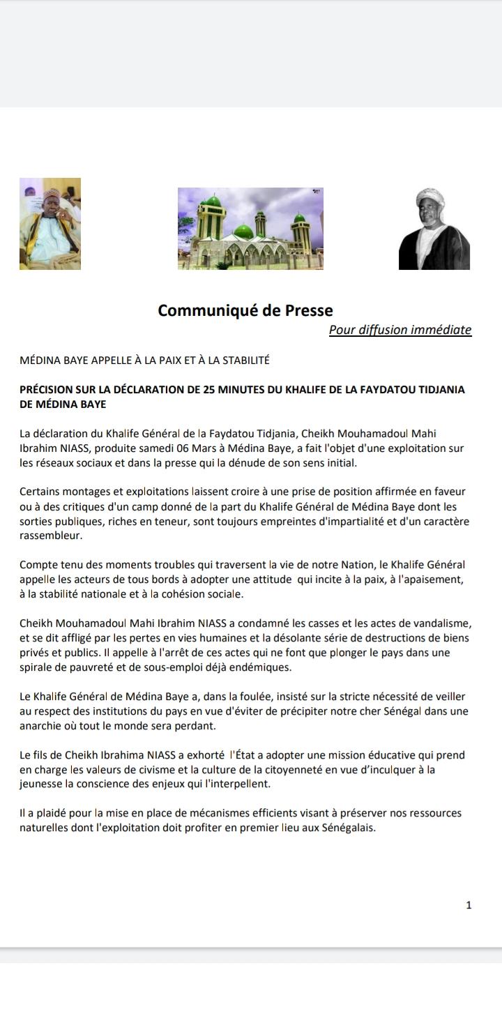 Déclaration du Khalife Serigne Mahi Ibrahim Niass : Les précisions de Médina Baye (Document)
