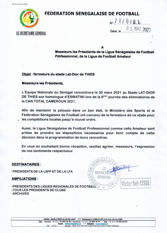 Éliminatoires CAN 2021 / Sénégal - Eswatini : Le stade Lat Dior fermé jusqu'à nouvel ordre pour préserver la pelouse.