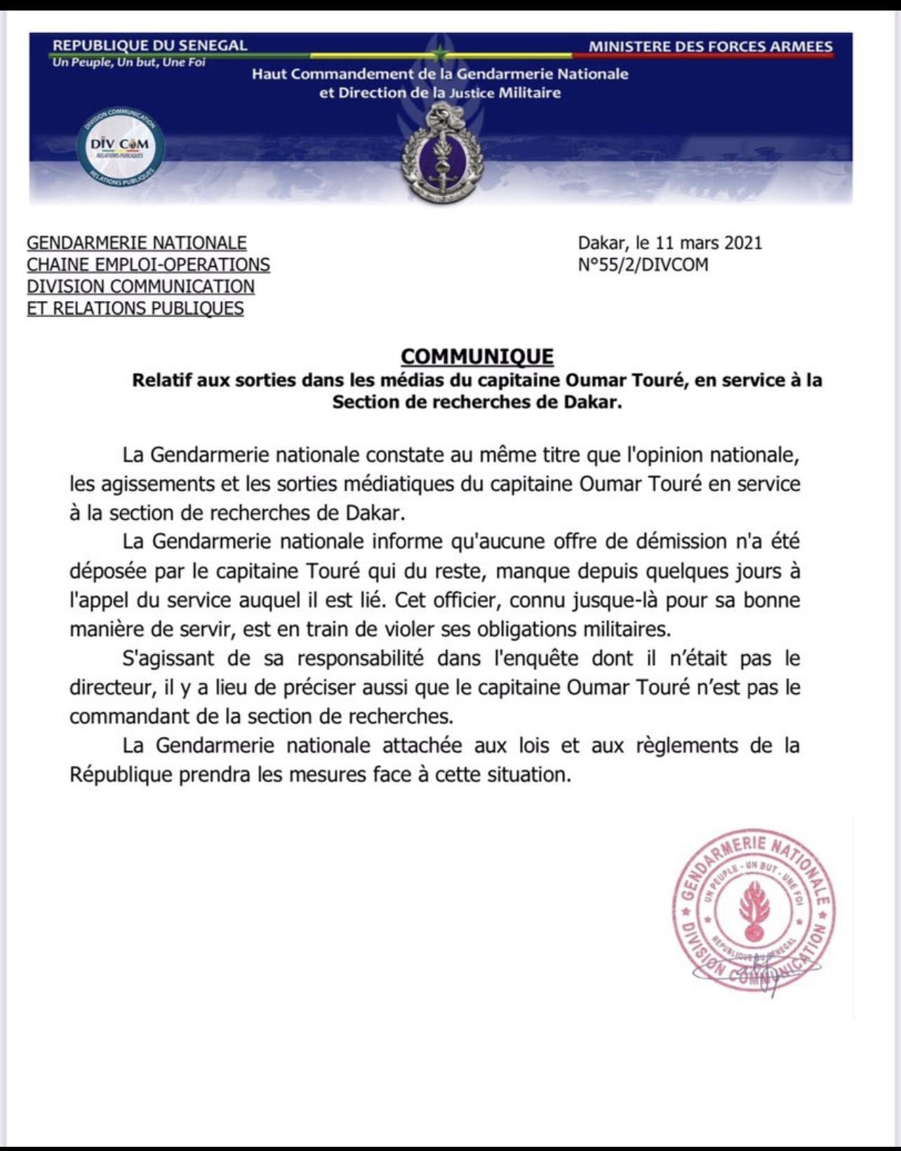 Supposée démission du Capitaine Oumar Touré : Les précisions de la Gendarmerie nationale. (DOCUMENT)