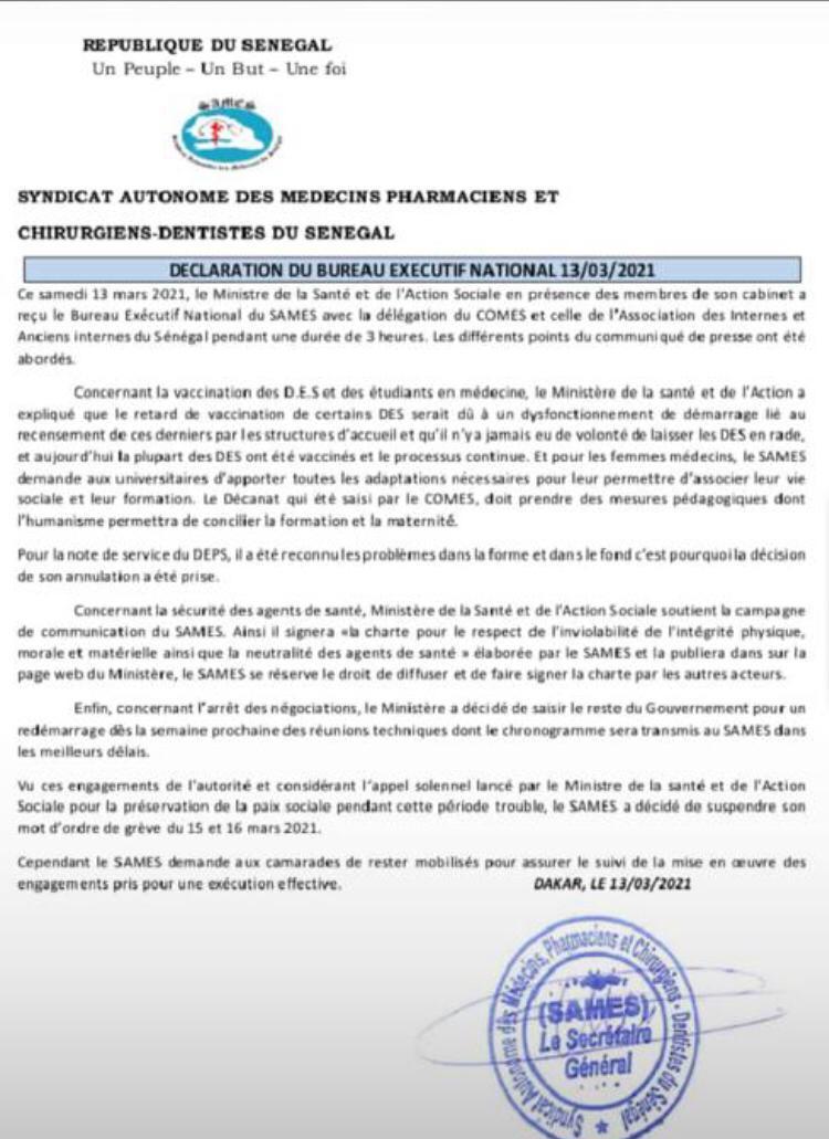Après sa rencontre avec le Ministre de la Santé et de l'action sociale: le SAMES suspend son mot d'ordre de grève
