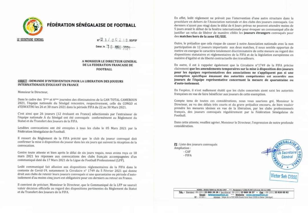 Trêve internationale : La fédération sénégalaise de football demande à celle de France de faciliter la libération des internationaux.