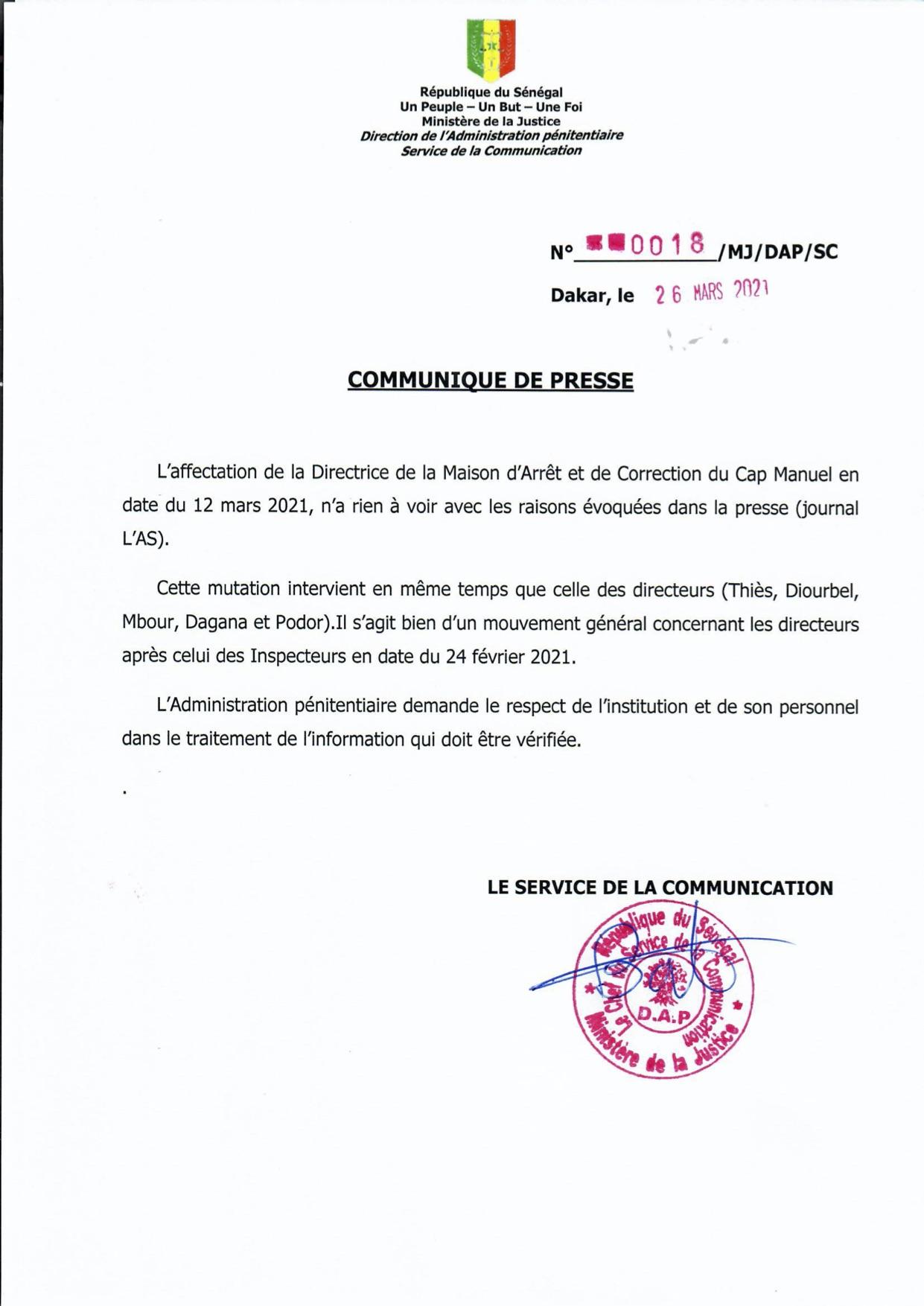 Affectation de la Directrice de la Maison d'Arrêt et de Correction du Cap Manuel : les précisions de la DAP