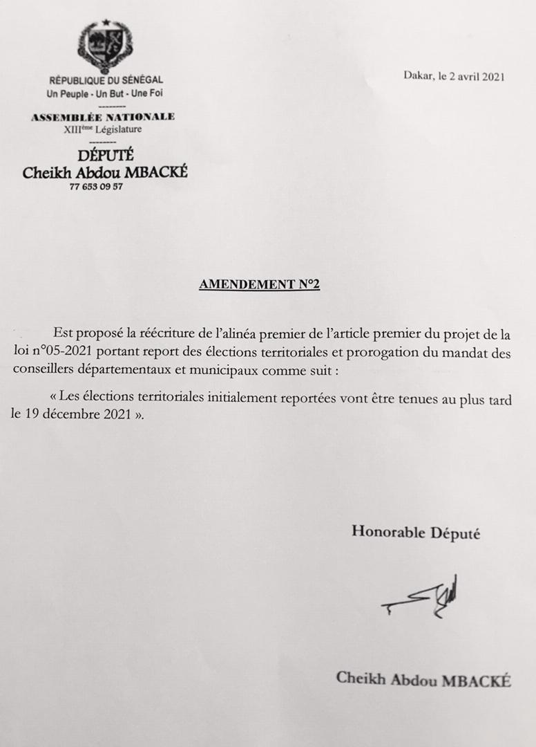 Projet de loi n°05/2021 relatif au report des élections territoriales et prorogation du mandat des conseillers  départementaux et municipaux : les amendements du député Cheikh Abdou Mbacké.
