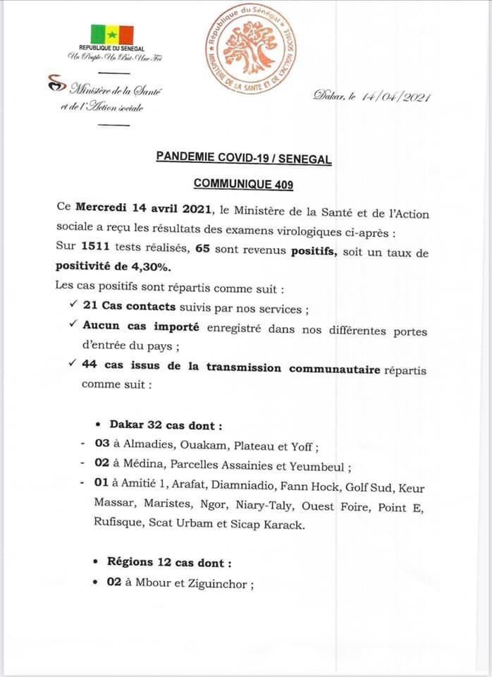 SÉNÉGAL : 65 nouveaux cas testés positifs au coronavirus, 49 nouveaux guéris, 3 nouveaux décès et 17 cas graves en réanimation.