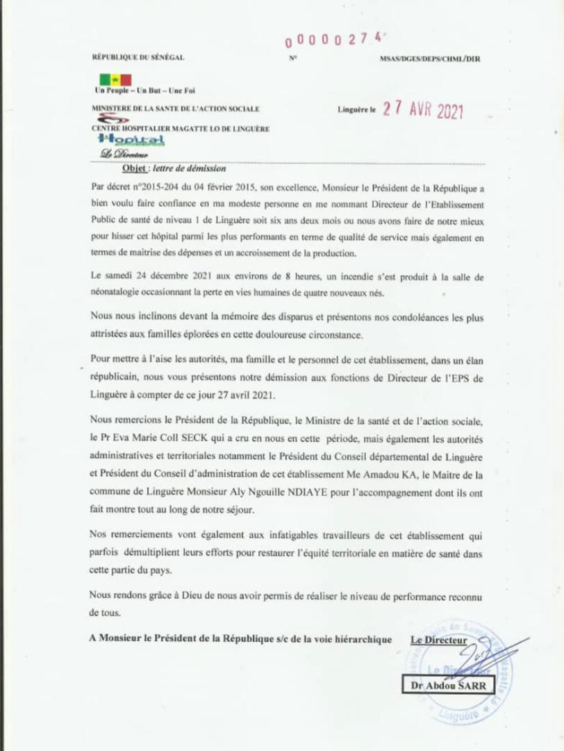 Incendie mortel à l'hôpital Magatte Lo de Linguère : Le Directeur démissionne. (DOCUMENT)