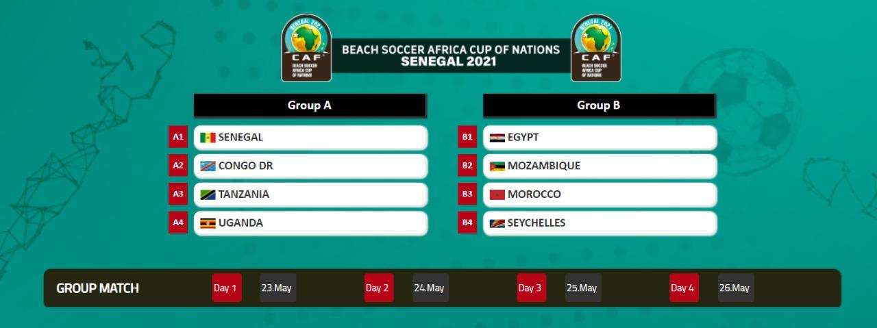 CAN Beach Soccer Sénégal 2021 : Les lions dans le groupe A avec l'Ouganda, la RDC et la Tanzanie…