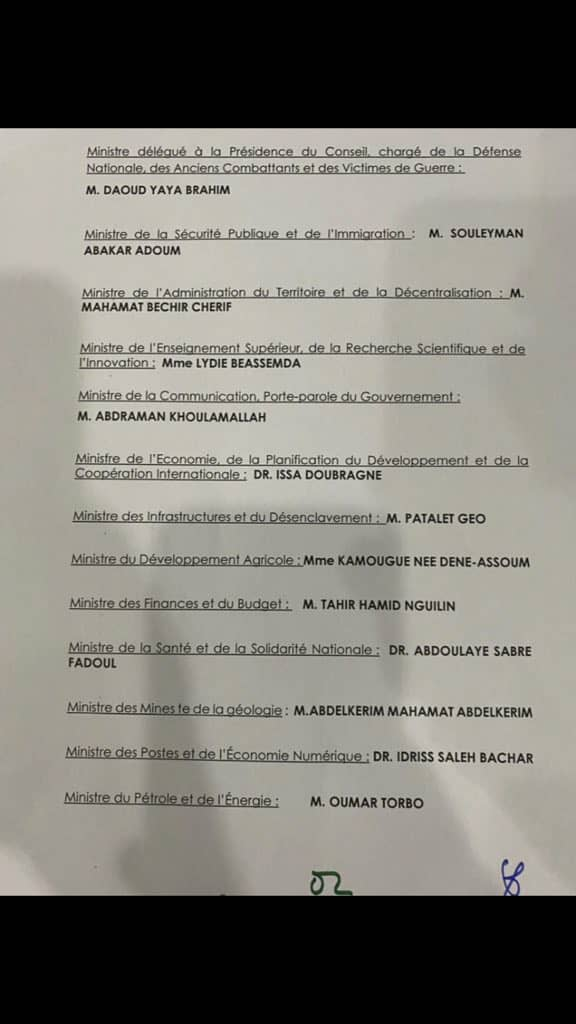Tchad : un nouveau Gouvernement de transition mis en place