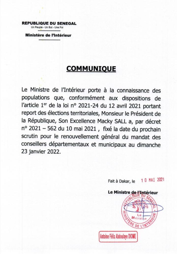 Elections locales : la nouvelle date fixée au dimanche 23 janvier 2022.