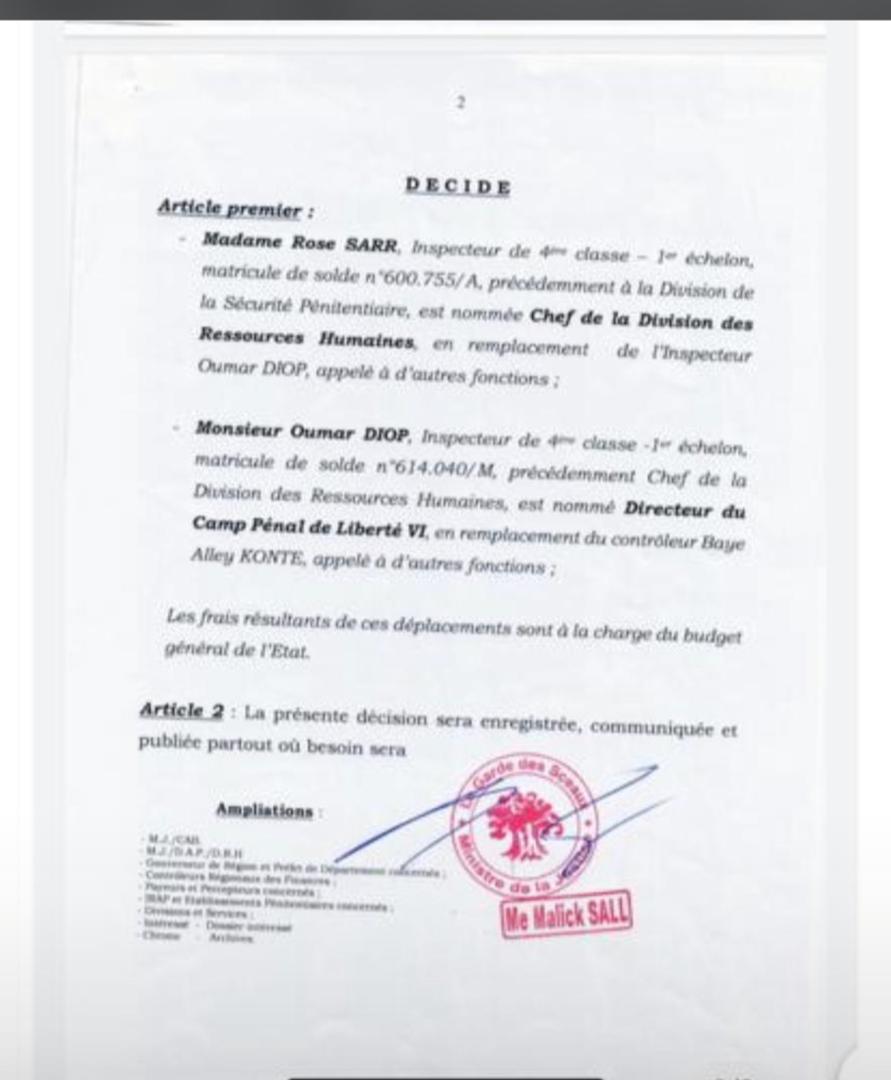 Évasion Boy Djinné : le Directeur du camp pénal de Liberté 6 muté