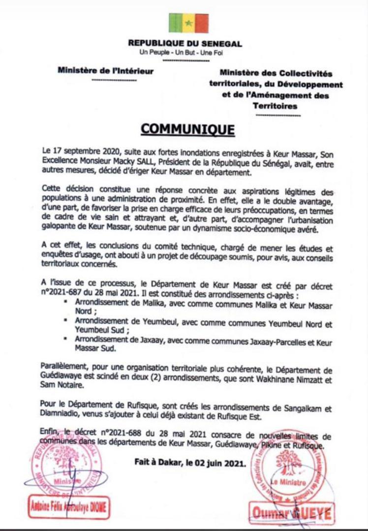 Découpage administratif : le Département de Keur Massar crée…Guédiawaye scindé en deux arrondissements…deux nouveaux crées aussi à Rufisque