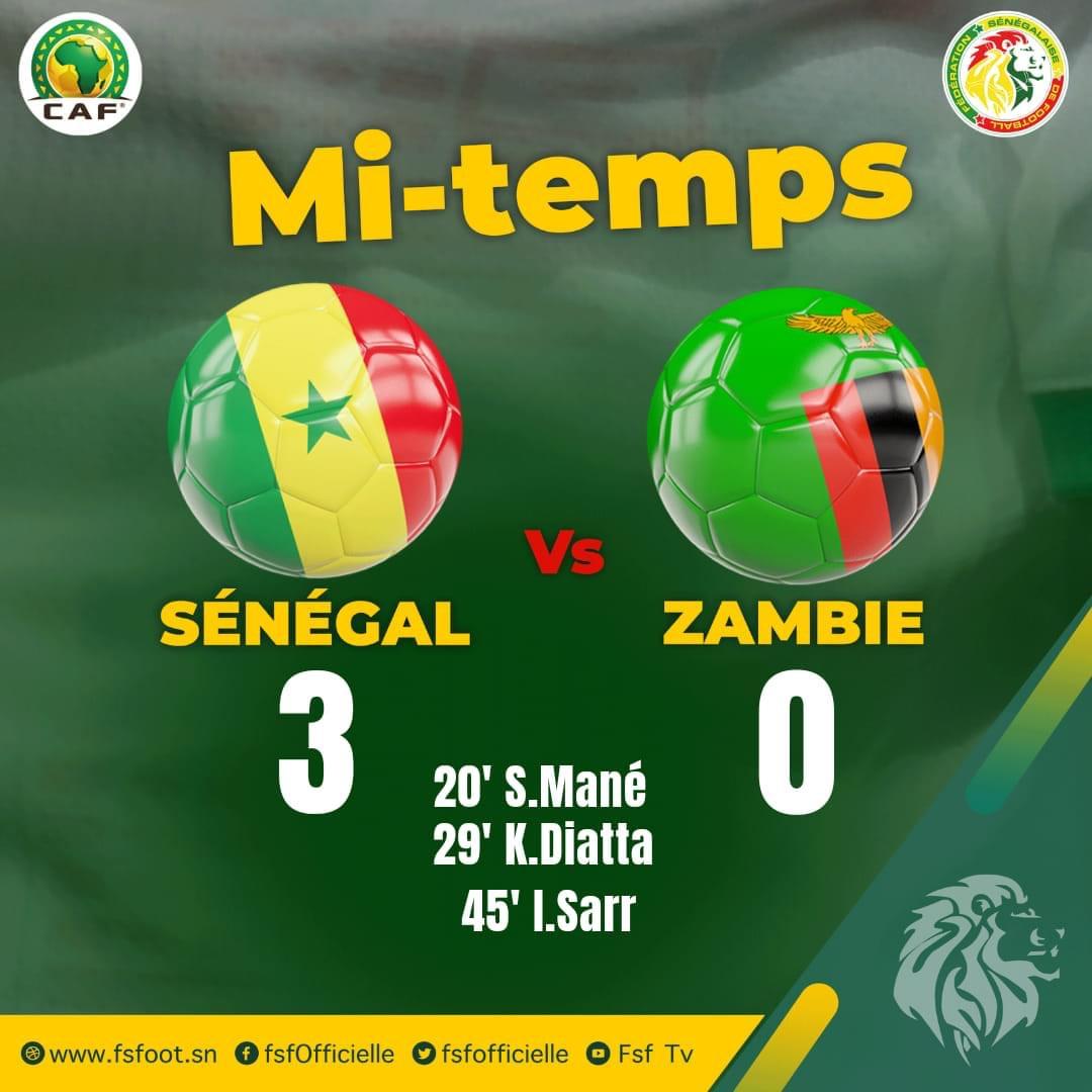 Sénégal - Zambie : Les Lions mènent 3-0 à la mi-temps grâce à des buts de Sadio Mané sur penalty, Krepin Diatta et Ismaëla Sarr...