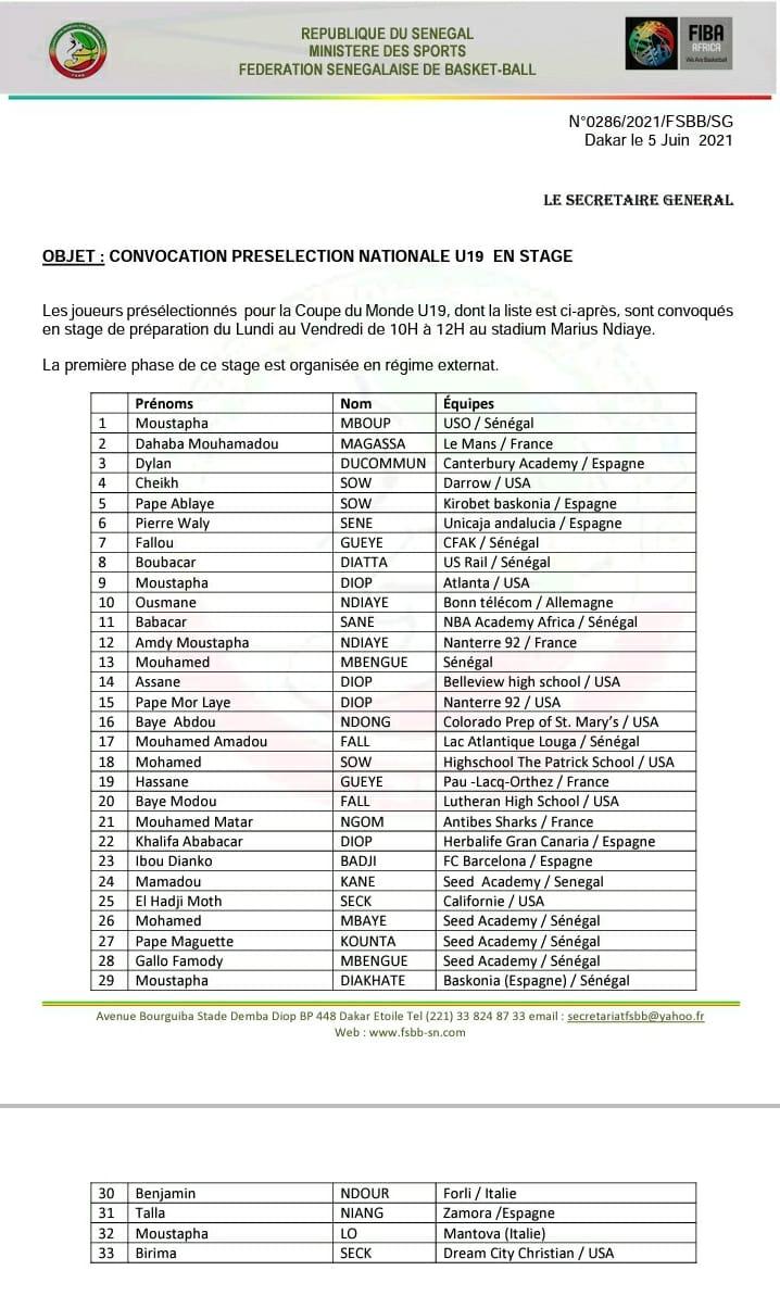 COUPE DU MONDE U19 MASCULIN : La liste de joueurs Sénégalais présélectionnés pour un stage de préparation... (DOCUMENT)