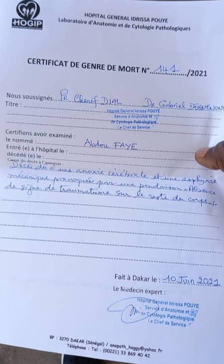 Affaire Abdou Faye : L'autopsie confirme le suicide.