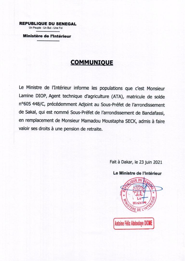 Arrondissement de Bandafassi :  Lamine Diop, agent technique d'agriculture, nommé sous-préfet et non le défunt Moussa Gadio