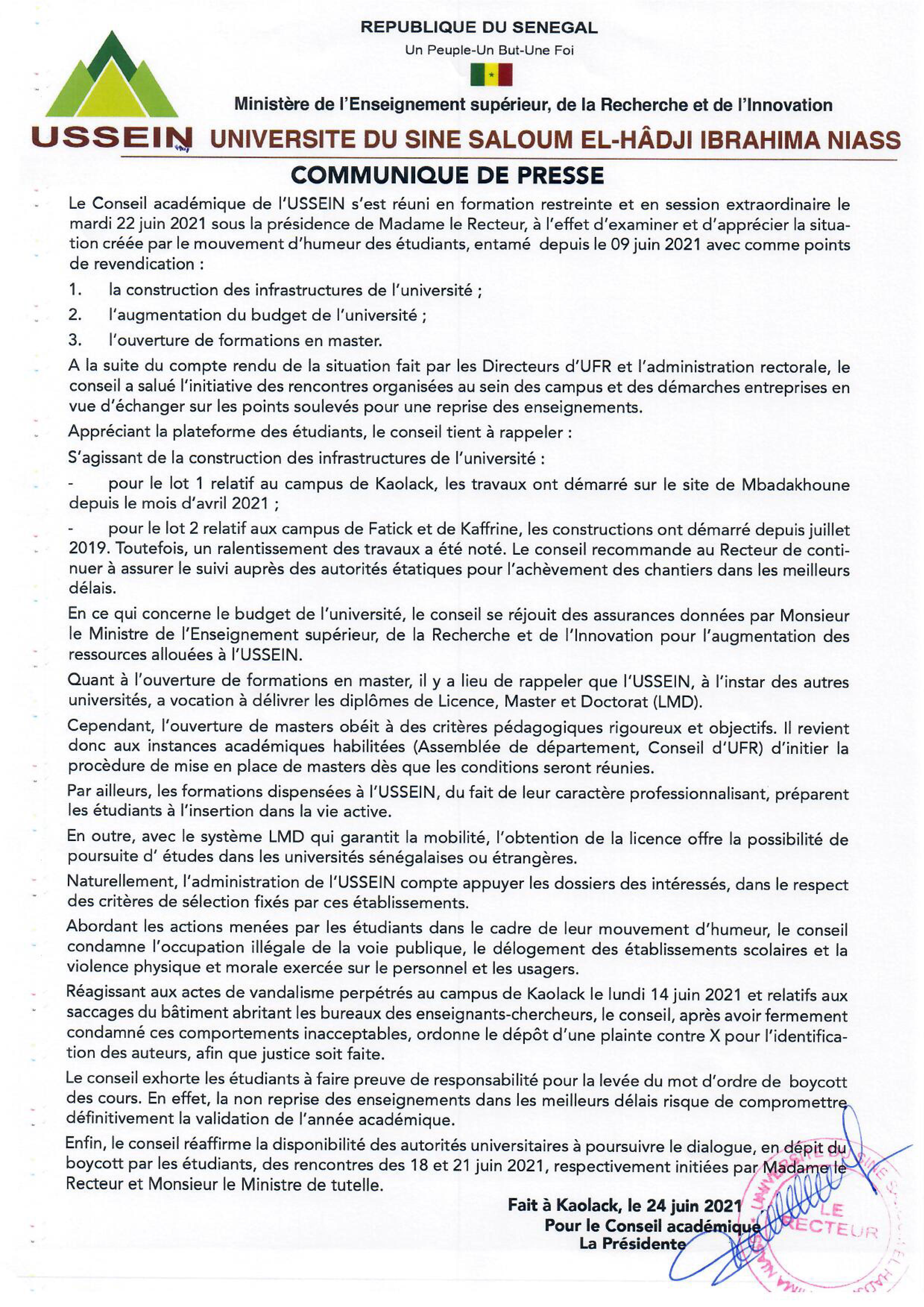 Ussein / Actes de vandalisme perpétrés au campus de Kaolack : Le conseil académique ordonne le dépôt d'une plainte contre X. (DOCUMENT)
