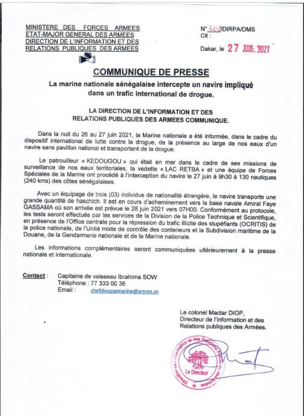 Trafic international de stupéfiants : Un navire transportant de haschich intercepté par la marine Sénégalaise.