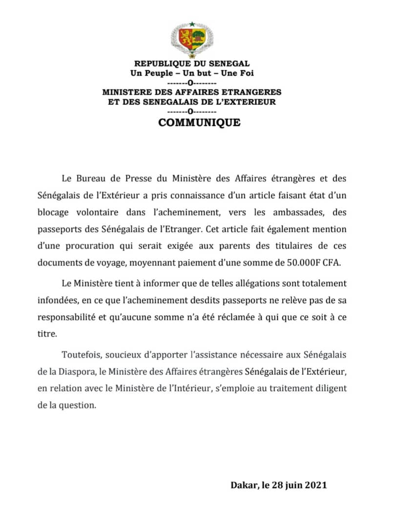 Renouvellement des passeports aux sénégalais de la Diaspora : les précisions du Ministère des affaires étrangères