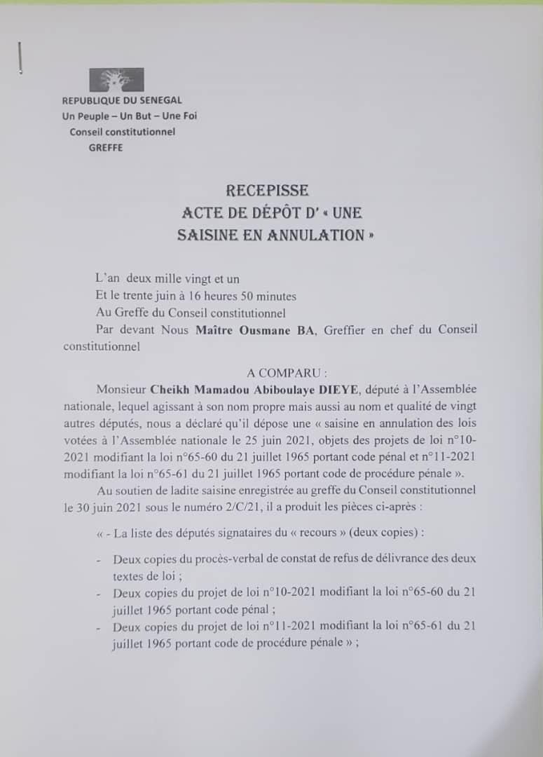 Lois sur le terrorisme : L'opposition dépose un recours auprès du Conseil constitutionnel pour l'annulation des deux projets de loi votées par l'Assemblée nationale.