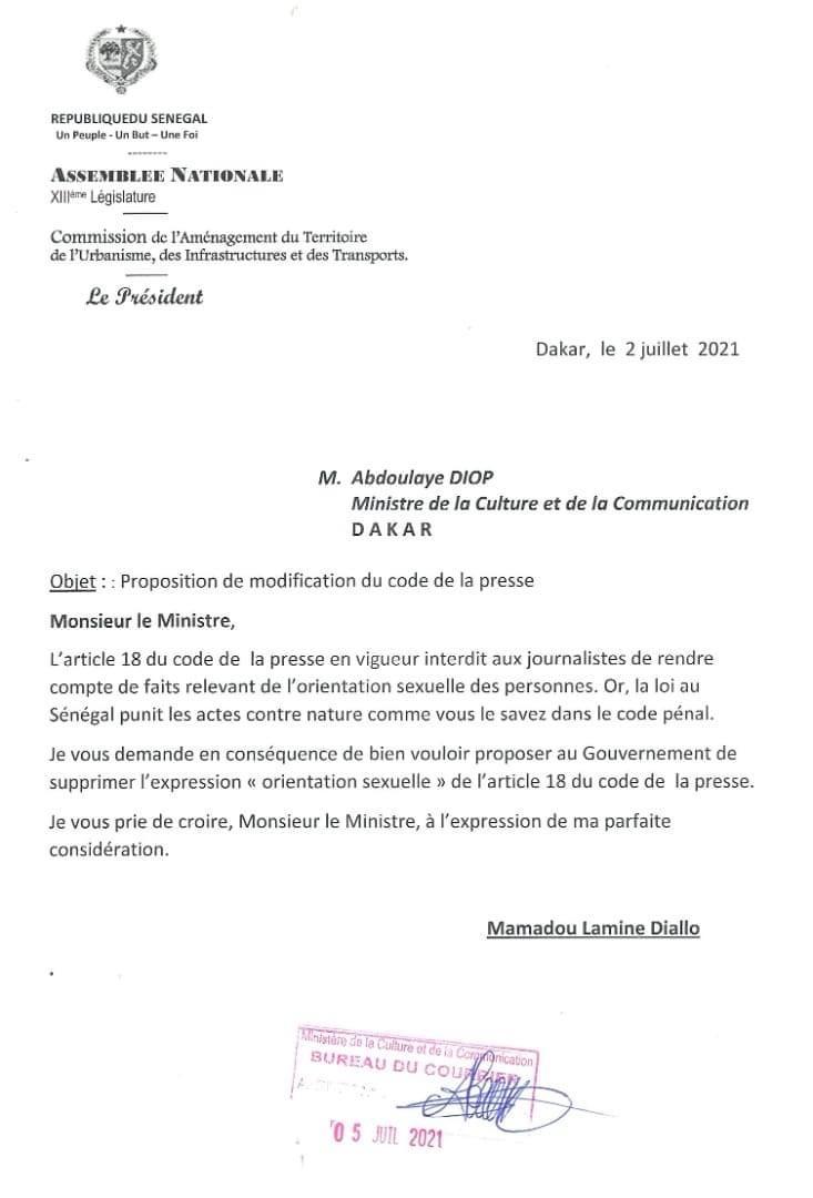 Article 18 du code la presse : Mamadou Lamine Diallo veut la suppression de l'expression « orientation sexuelle »