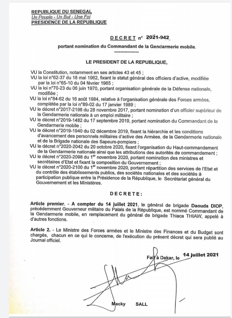 Nominations dans le Haut commandement de la gendarmerie nationale: le colonel Adama Gueye, Gouverneur militaire du Palais, les Colonels Daouda Diop et Meissa Cellé Ndiaye élevés au grade de Général