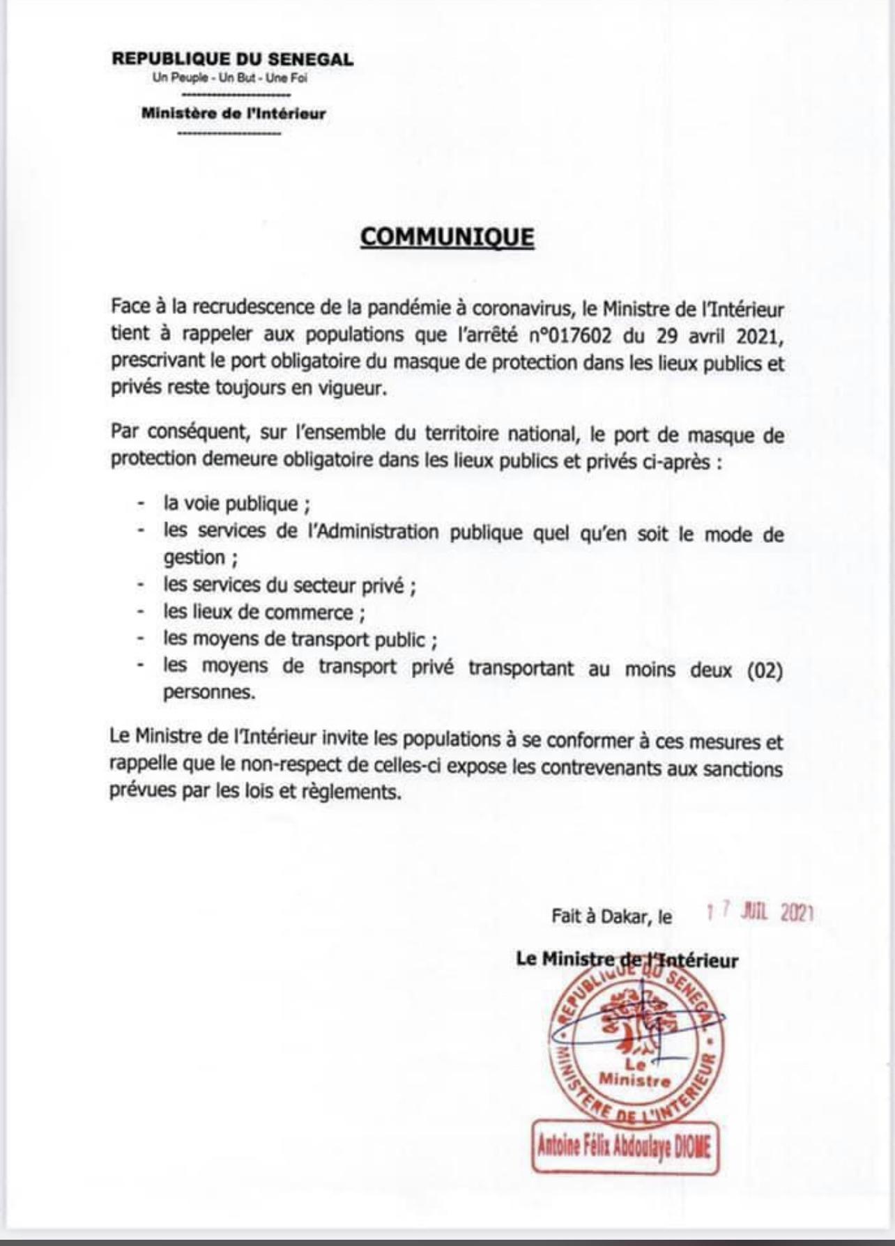 Covid-19 au Sénégal : «Le port du masque est obligatoire dans les lieux publics et privés» (DOCUMENT)