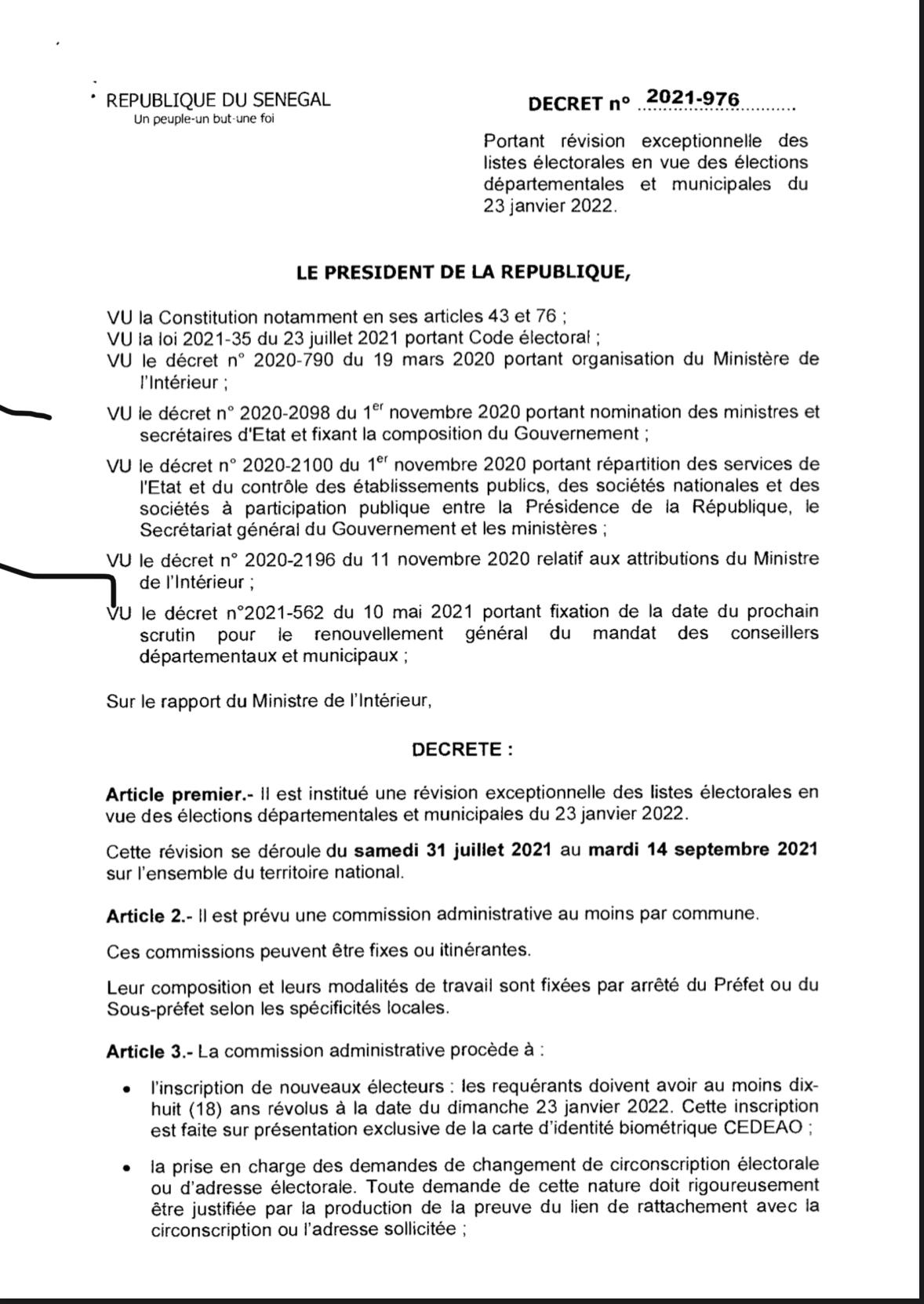 Elections locales 2022 : La révision exceptionnelle des listes électorales va se dérouler du 31 juillet au 14 septembre 2021. (Décret)