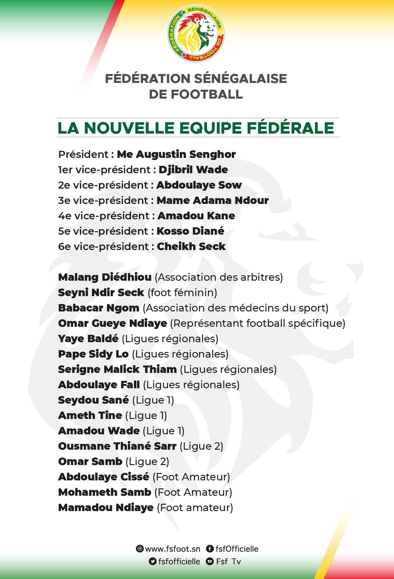 Assemblée générale élective : Voici les nouveaux membres du comité exécutif de la FSF...