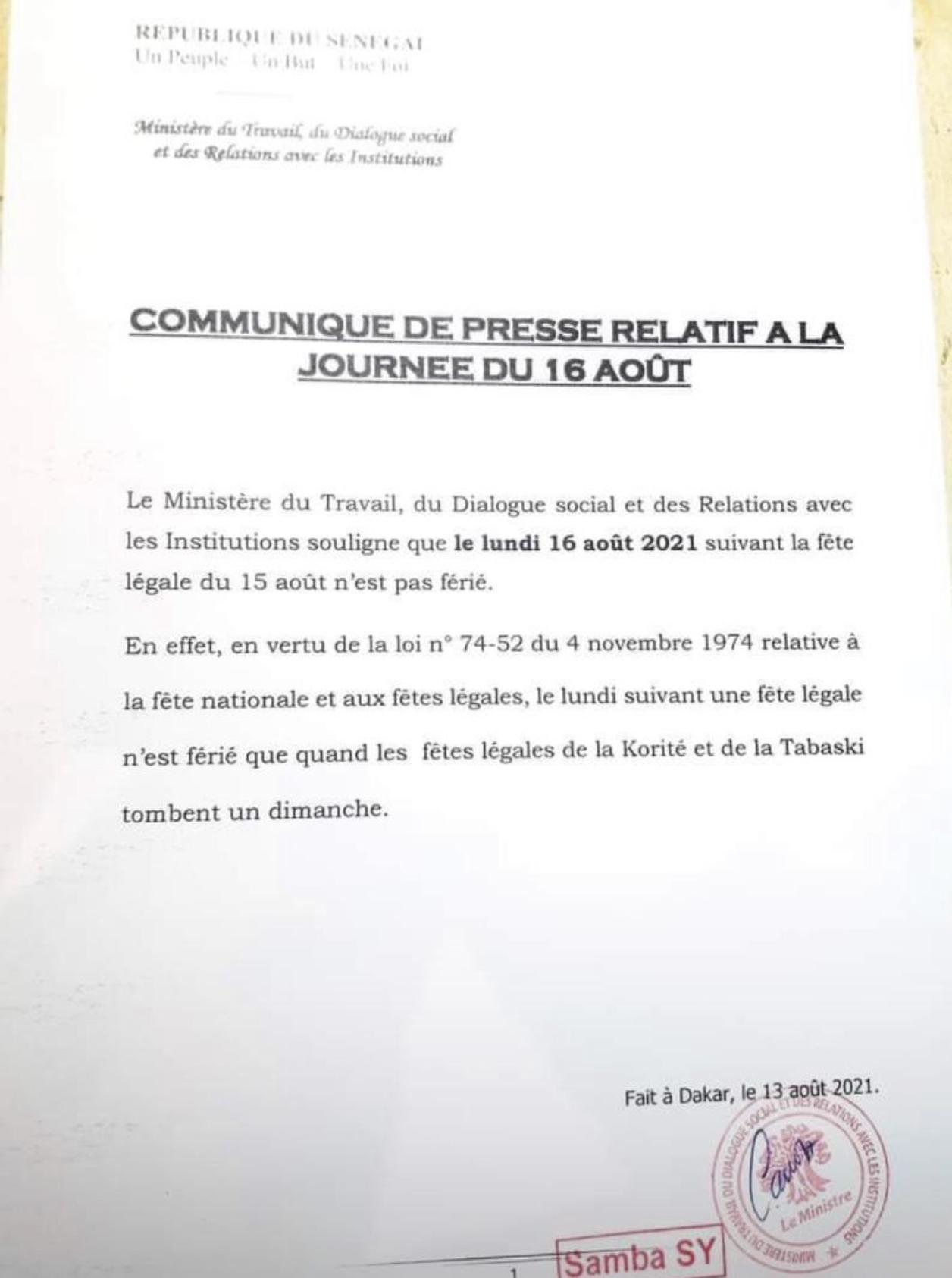 Calendrier :  Le lundi d'après 15 août n'est pas un jour férié (Ministère du travail)