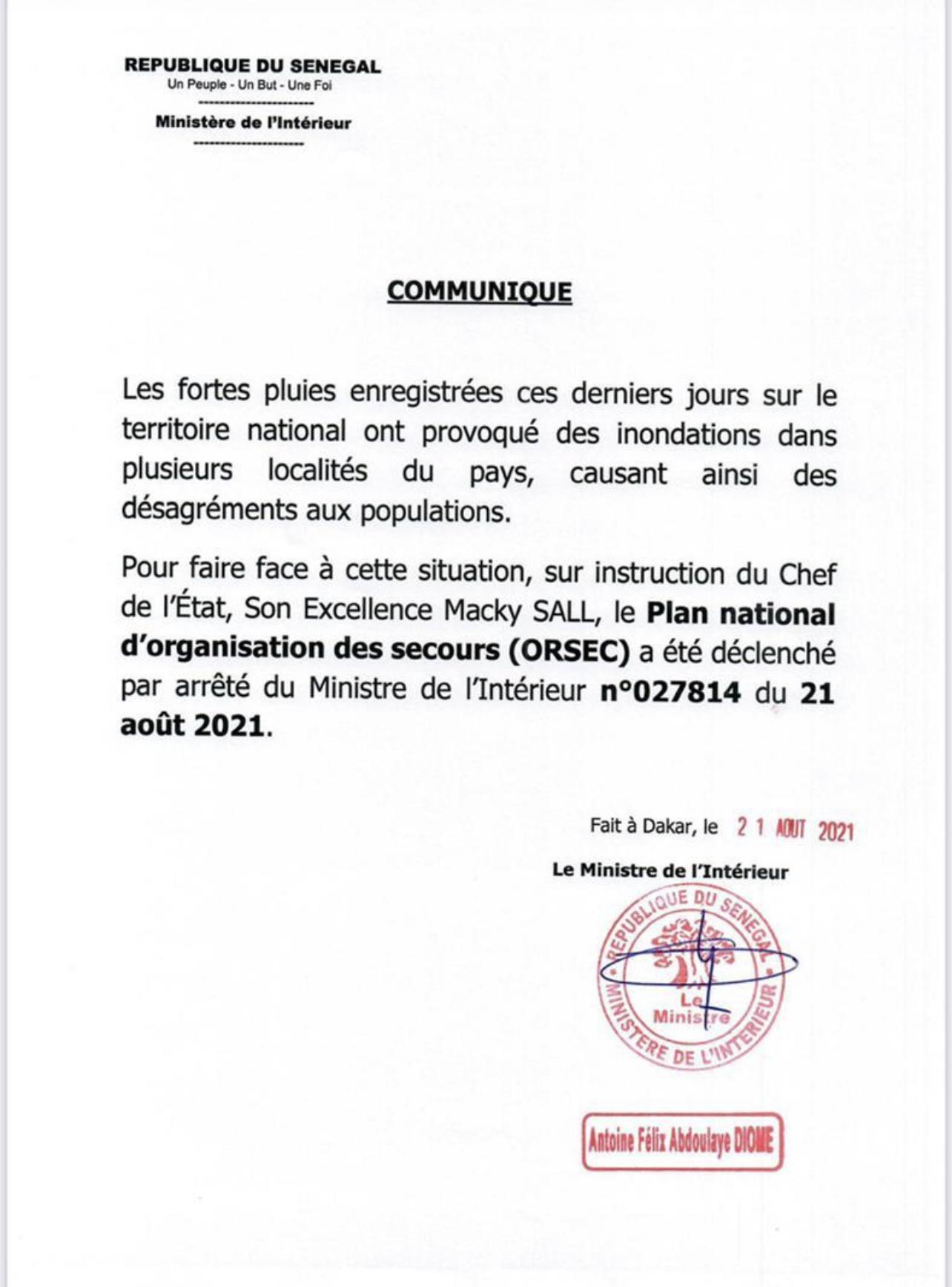 GESTION DES INONDATIONS : Le ministre de l'intérieur déclenche le Plan Orsec. (DOCUMENT)