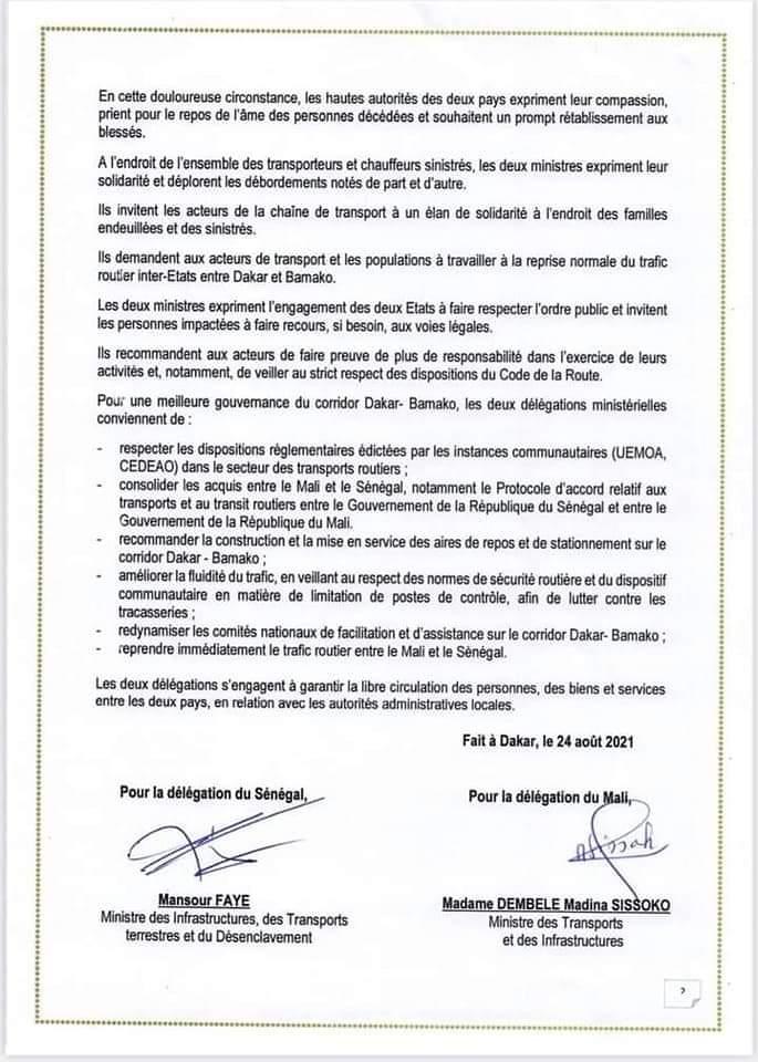 Rencontre entre les ministres des transports du Sénégal et du Mali : les mesures prises pour une meilleure gouvernance du corridor Dakar-Bamako