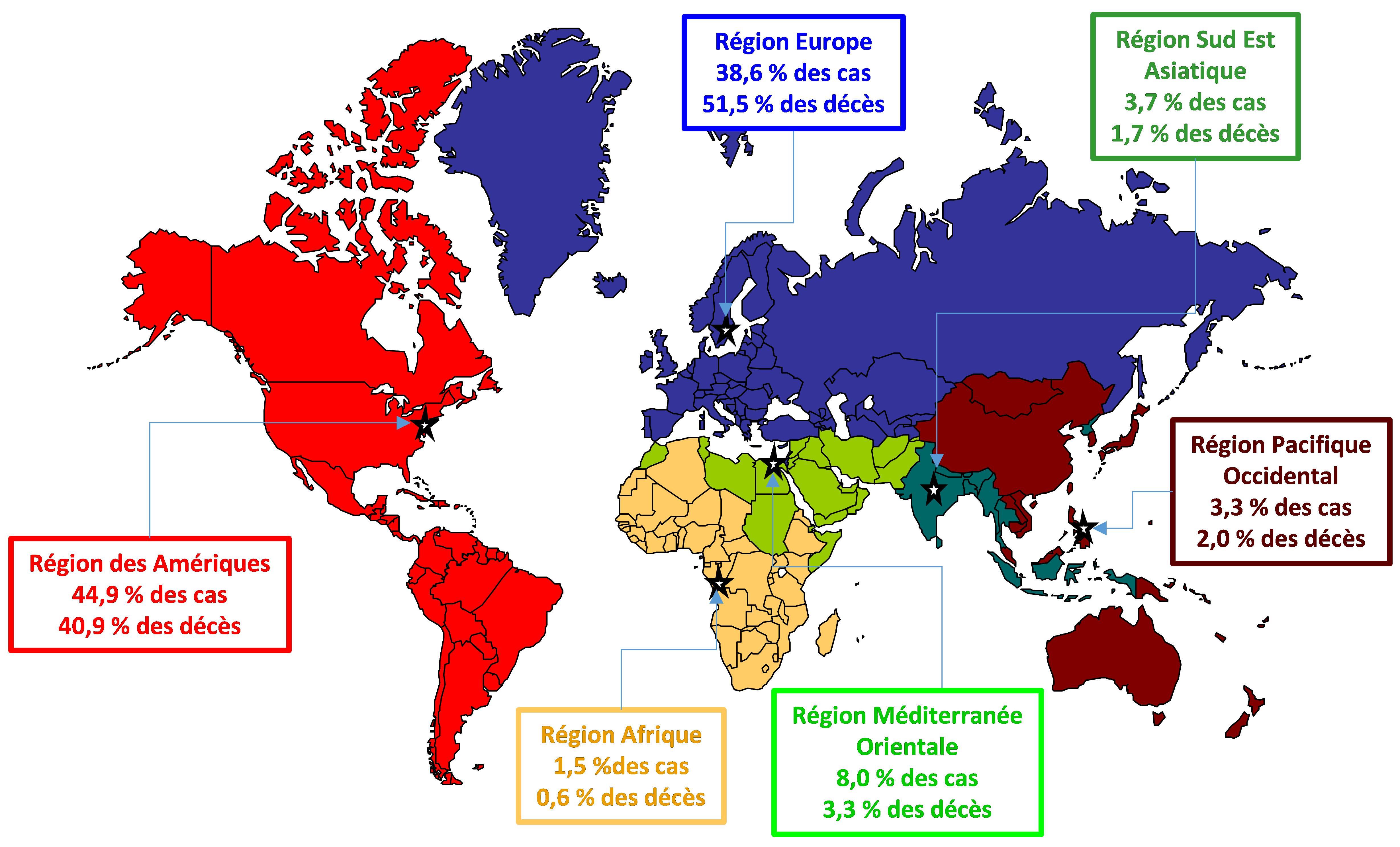Suivi de la sévérité de la Covid-19 : baisse dans le monde, en Afrique, en Amérique, en Asie, en Europe et en Océanie.
