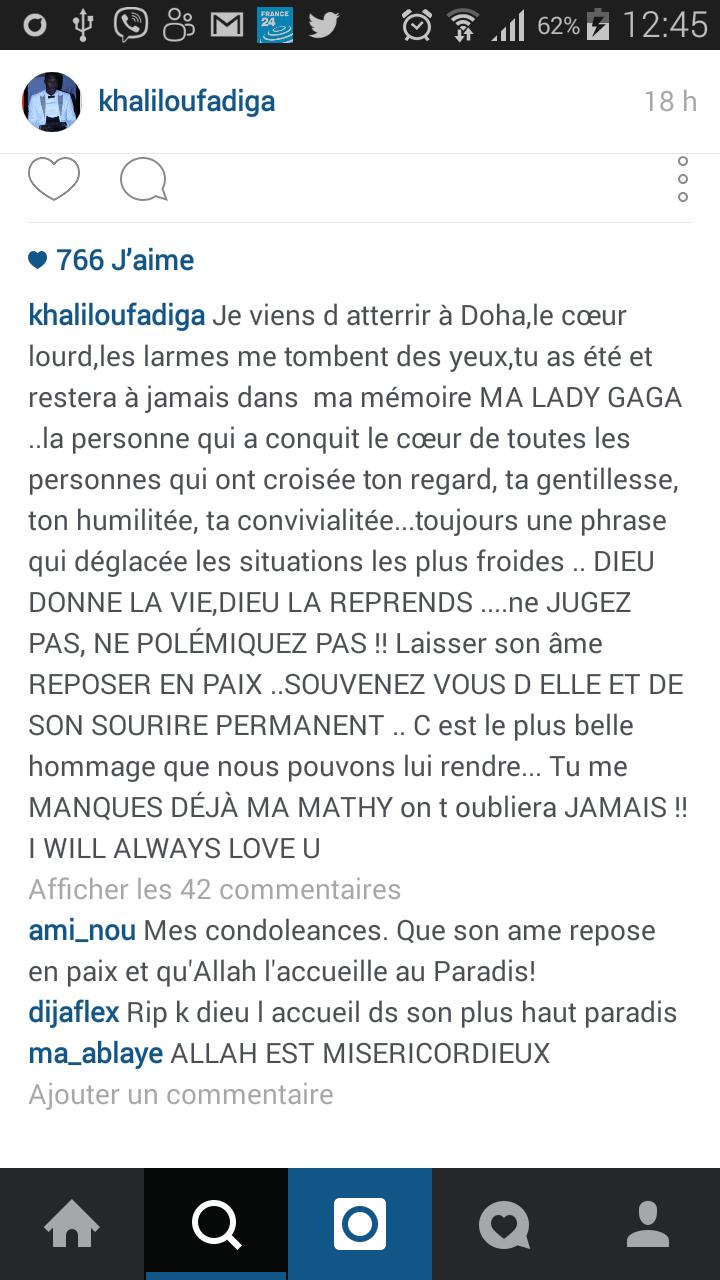 Décès de Maty M'bodj : Khalilou Fadiga témoigne sur Instagram