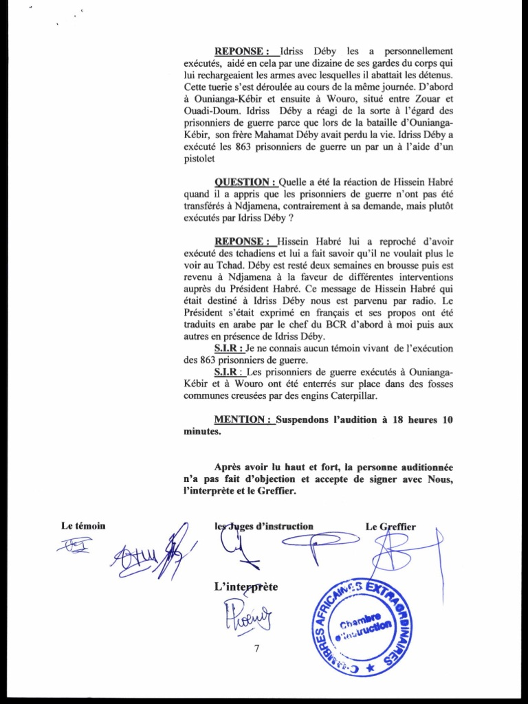 Exclusif / TCHAD 1982 A 1990 : des témoignages accablants contre Idriss Déby dissimulés pendant l'instruction